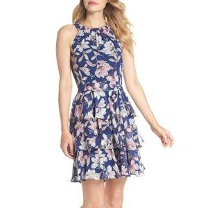 Eliza J Navy Floral Tiered Chiffon Dress Size 18